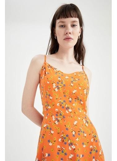 DeFacto Çiçekli V Yaka Ayarlanabilir Askılı Elbise Turkuaz